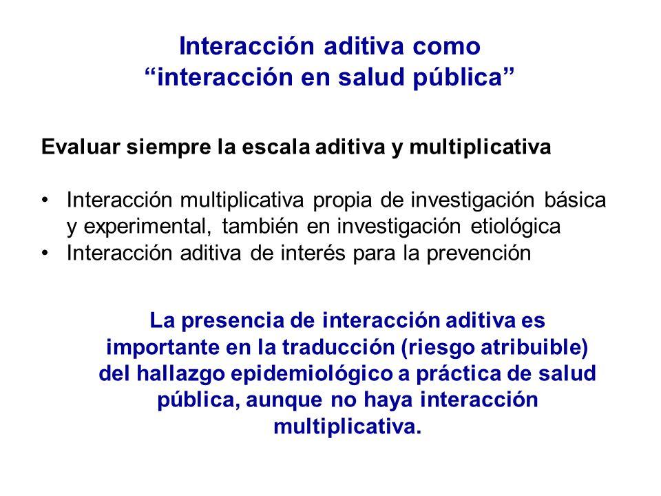 Interacción aditiva como interacción en salud pública