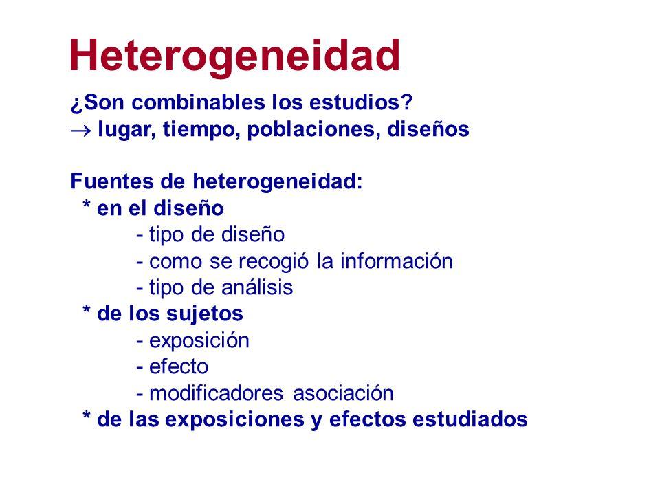 Heterogeneidad ¿Son combinables los estudios