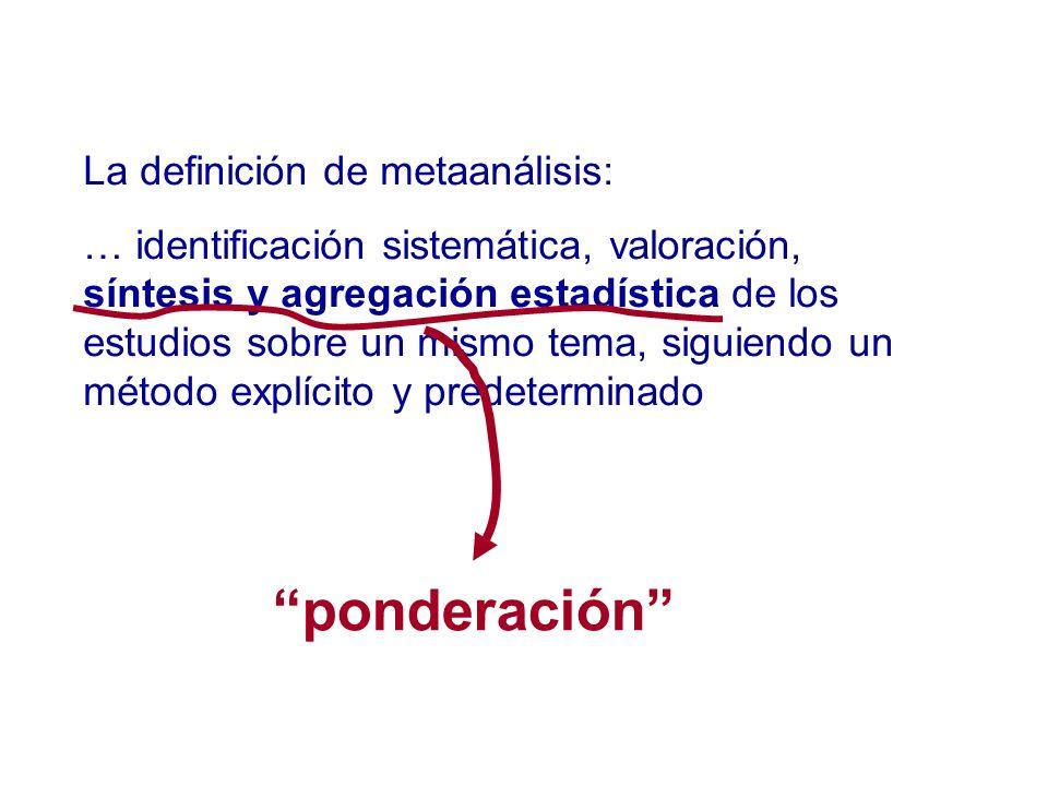 ponderación La definición de metaanálisis: