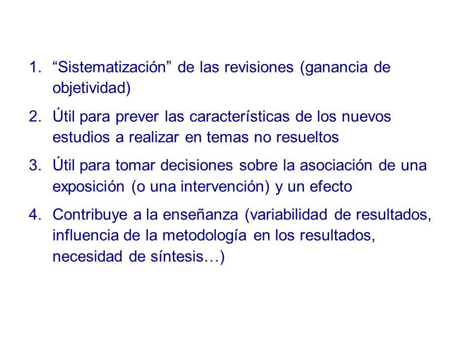 Sistematización de las revisiones (ganancia de objetividad)