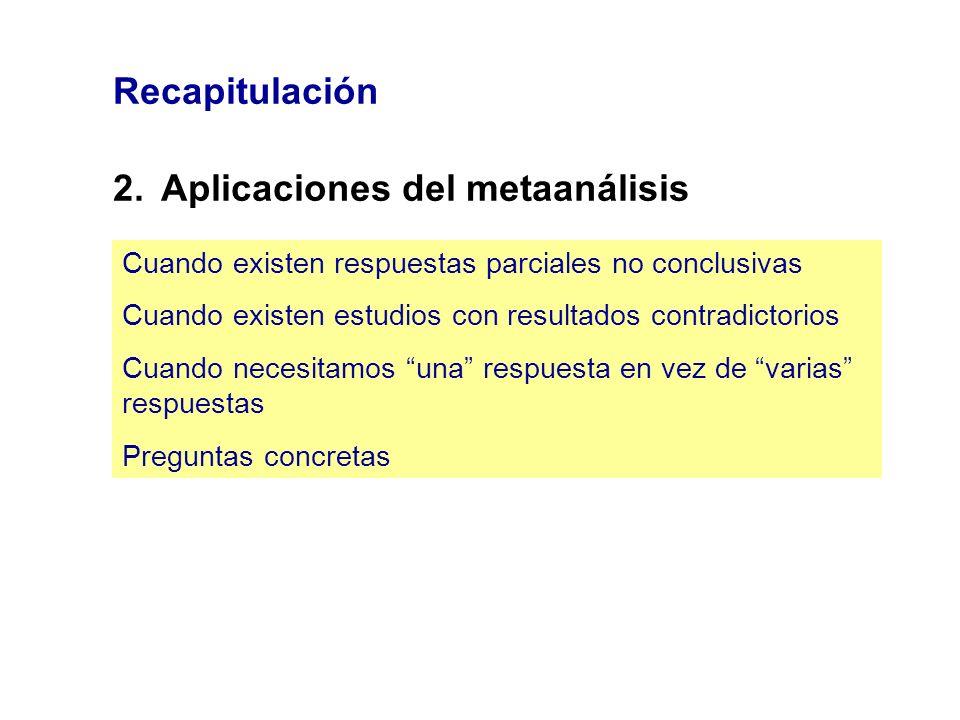2. Aplicaciones del metaanálisis