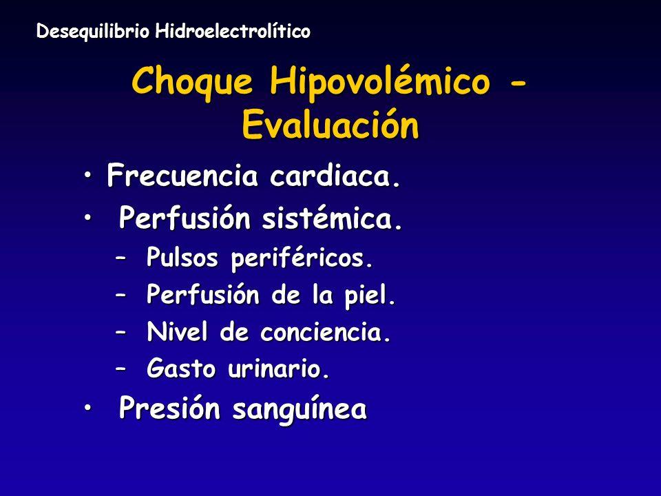 Choque Hipovolémico - Evaluación