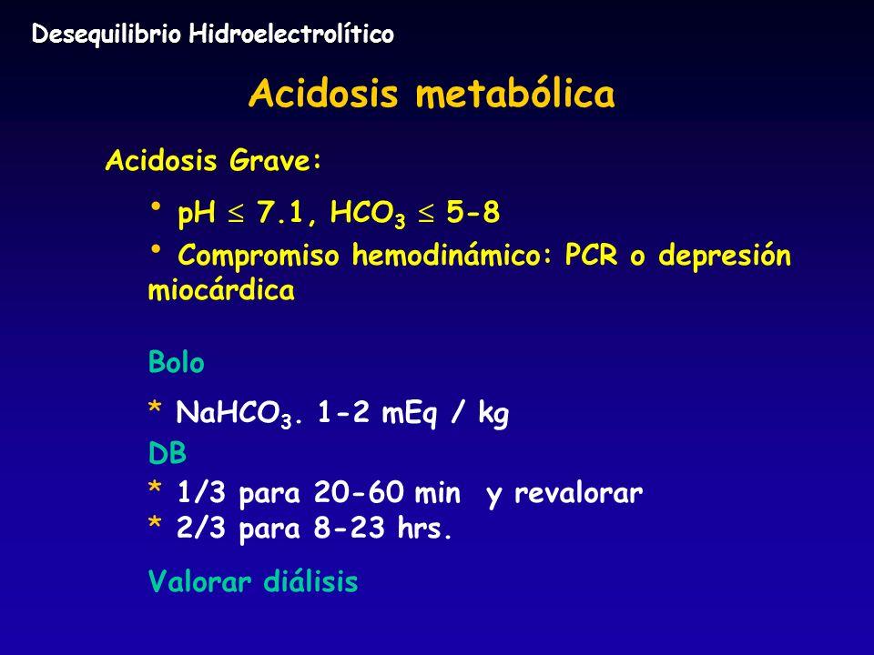 Acidosis metabólica Acidosis Grave: pH  7.1, HCO3  5-8