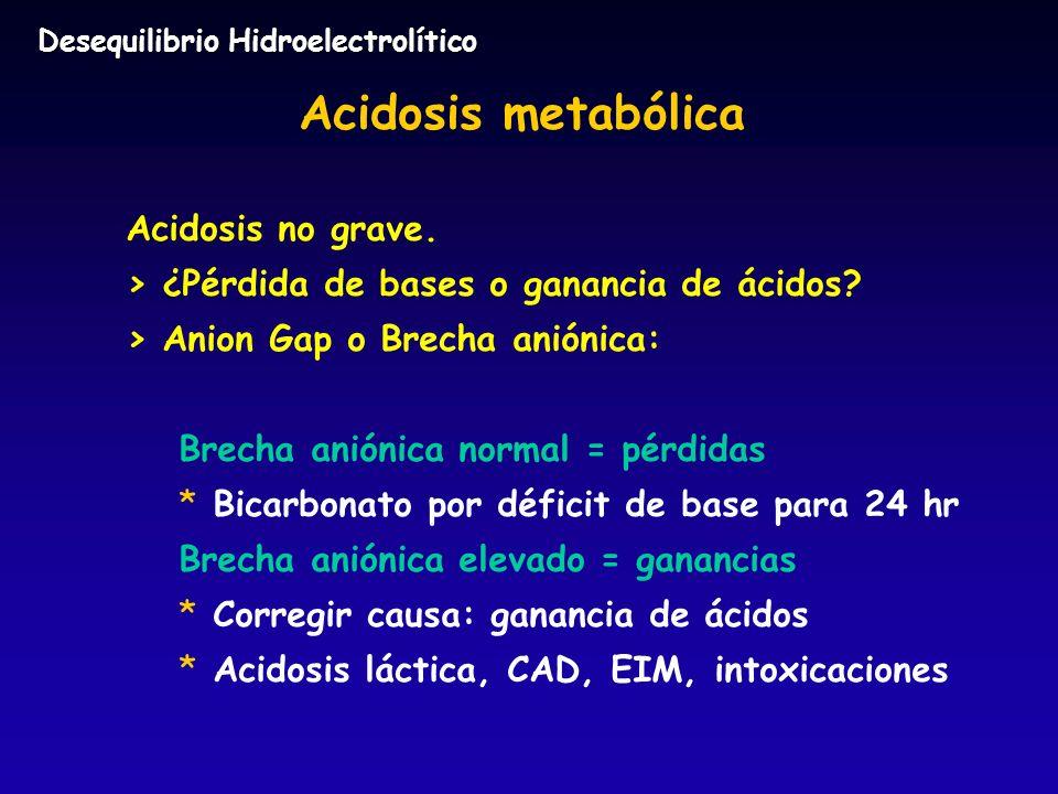 Acidosis metabólica Acidosis no grave.