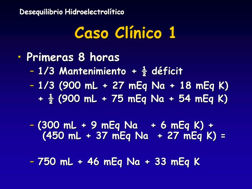 Caso Clínico 1 Primeras 8 horas 1/3 Mantenimiento + ½ déficit