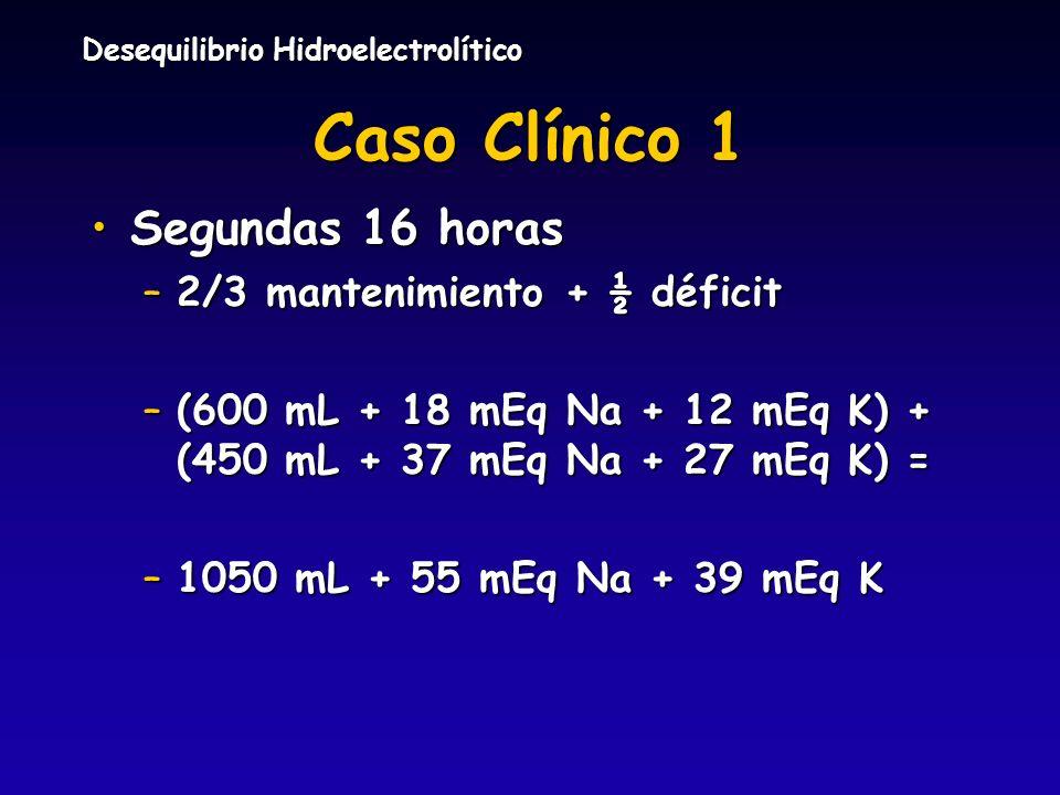 Caso Clínico 1 Segundas 16 horas 2/3 mantenimiento + ½ déficit