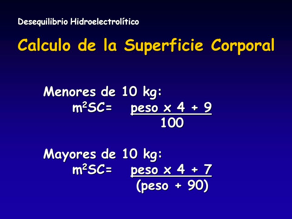Calculo de la Superficie Corporal
