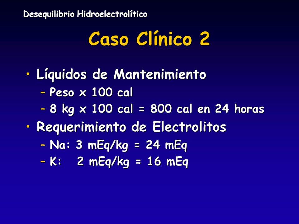 Caso Clínico 2 Líquidos de Mantenimiento Requerimiento de Electrolitos