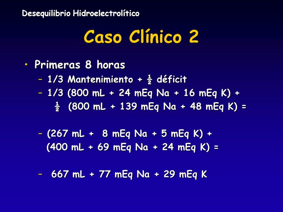 Caso Clínico 2 Primeras 8 horas 1/3 Mantenimiento + ½ déficit