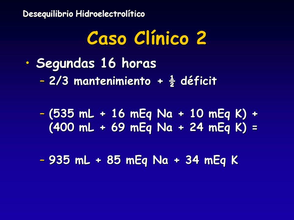 Caso Clínico 2 Segundas 16 horas 2/3 mantenimiento + ½ déficit