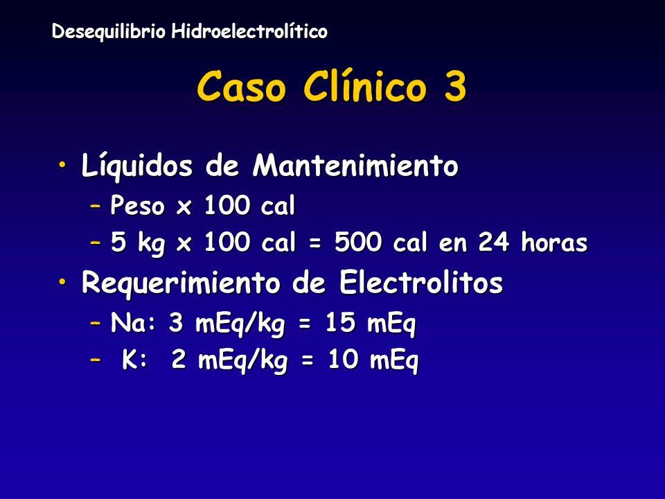 Caso Clínico 3 Líquidos de Mantenimiento Requerimiento de Electrolitos