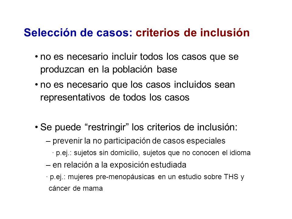 Selección de casos: criterios de inclusión