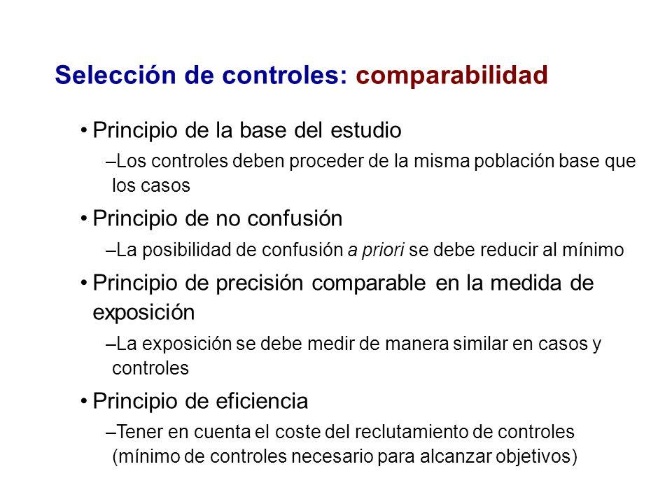 Selección de controles: comparabilidad