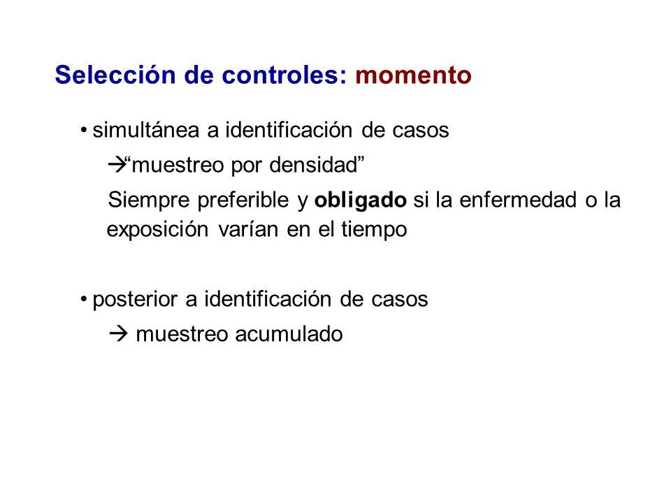 Selección de controles: momento