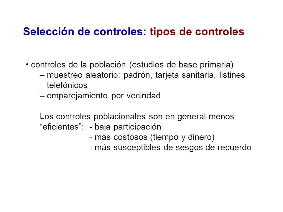 Selección de controles: tipos de controles