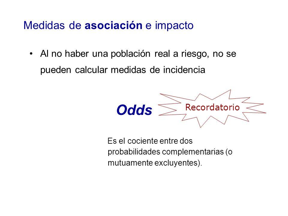 Odds Medidas de asociación e impacto