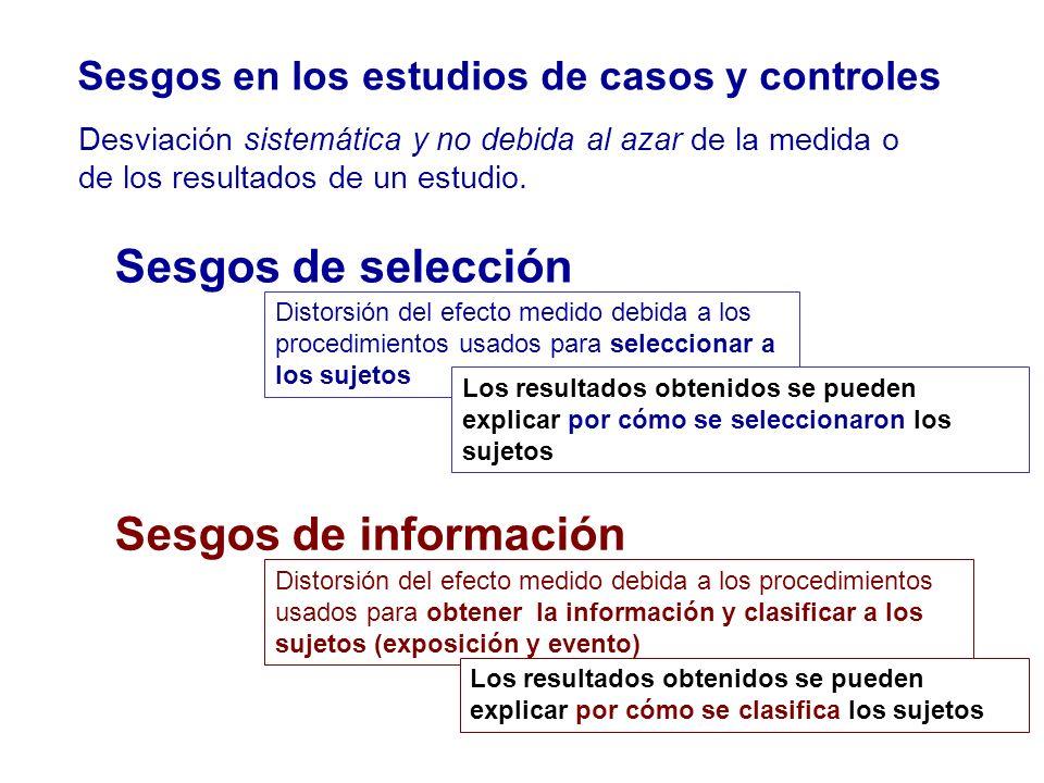 Sesgos de selección Sesgos de información