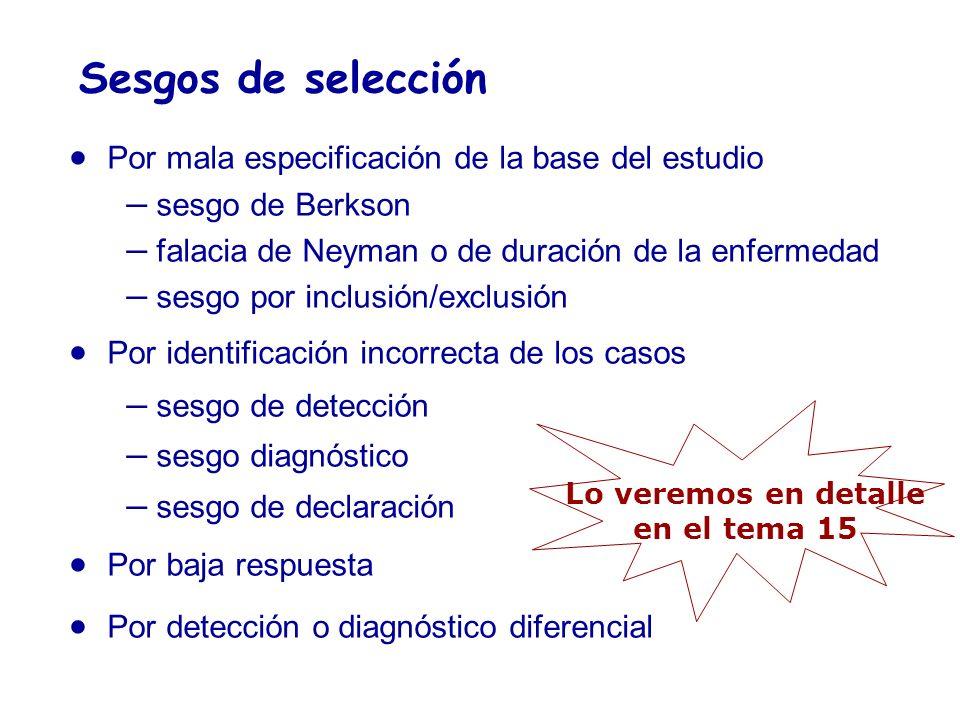 Sesgos de selección Por mala especificación de la base del estudio