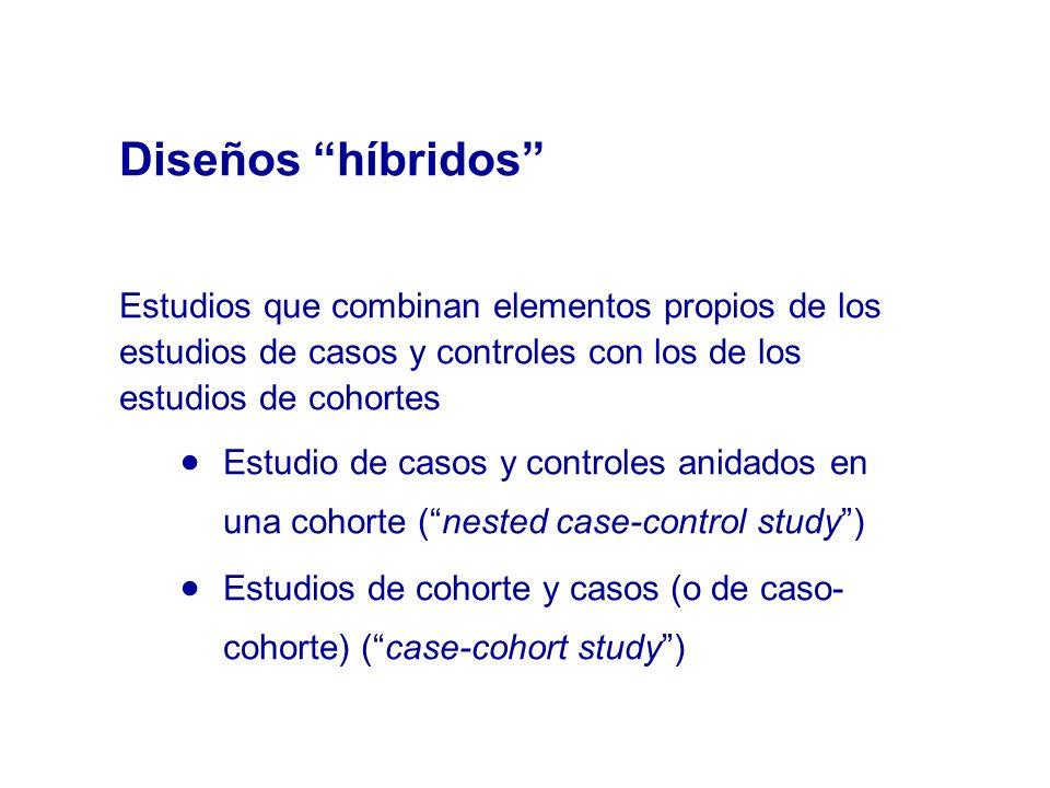 Diseños híbridos Estudios que combinan elementos propios de los estudios de casos y controles con los de los estudios de cohortes.