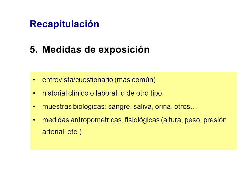 Recapitulación 5. Medidas de exposición