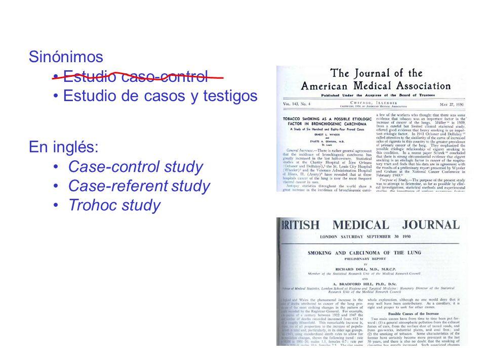 Sinónimos Estudio caso-control. Estudio de casos y testigos. En inglés: Case-control study. Case-referent study.