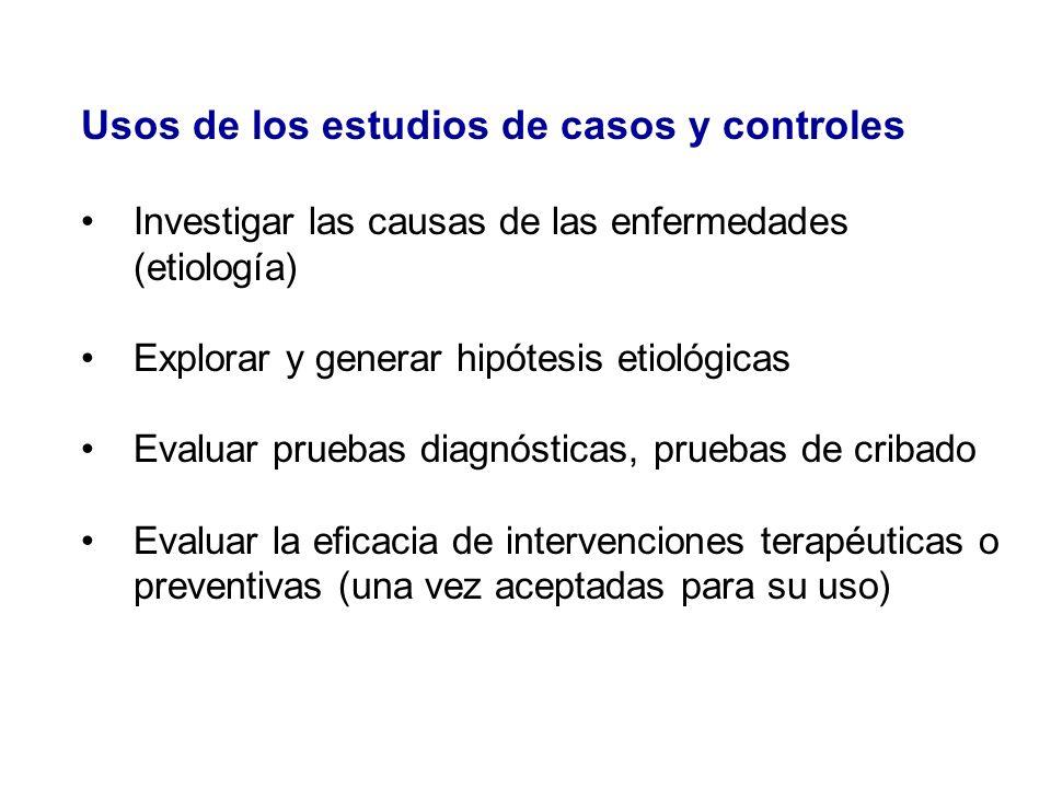 Usos de los estudios de casos y controles