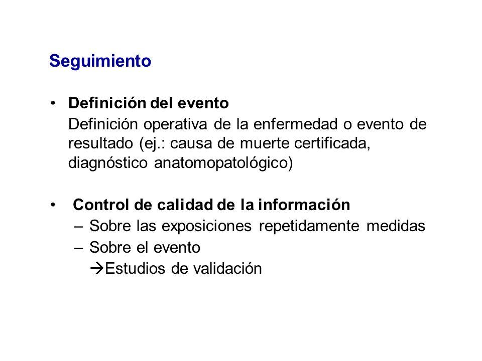 Seguimiento Definición del evento