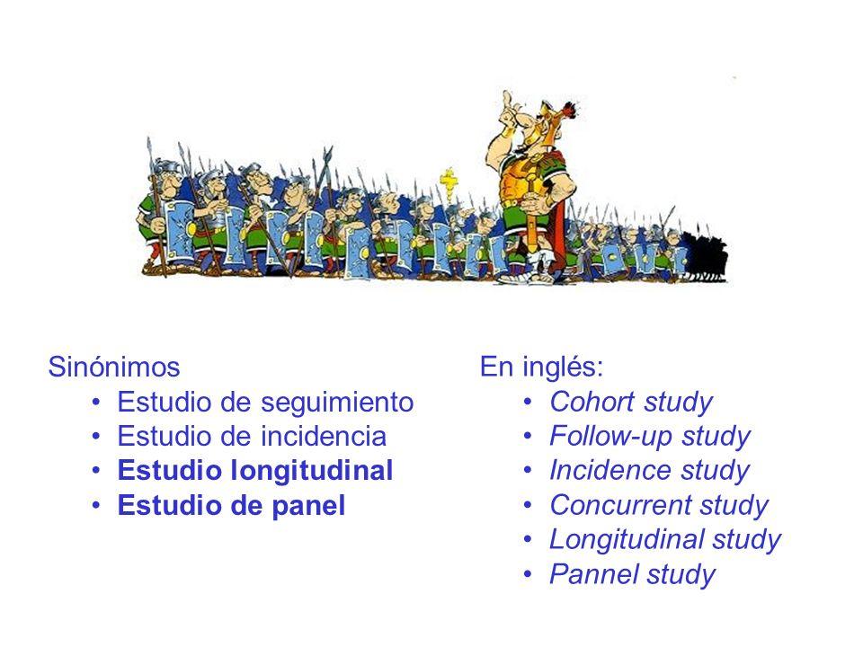 Sinónimos Estudio de seguimiento. Estudio de incidencia. Estudio longitudinal. Estudio de panel.