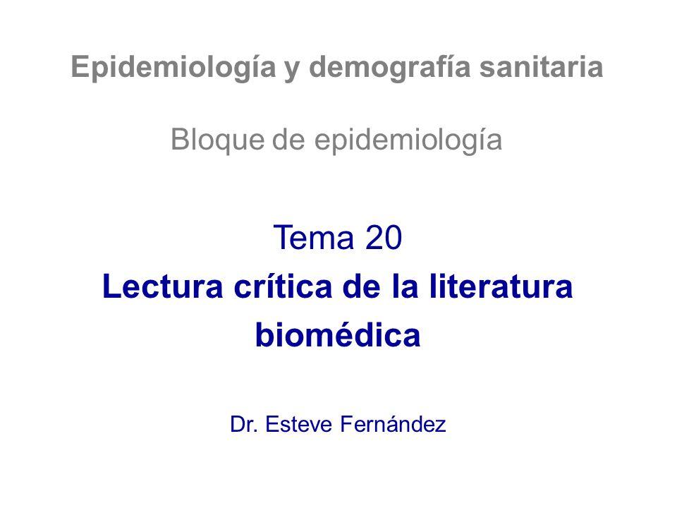 Lectura crítica de la literatura biomédica