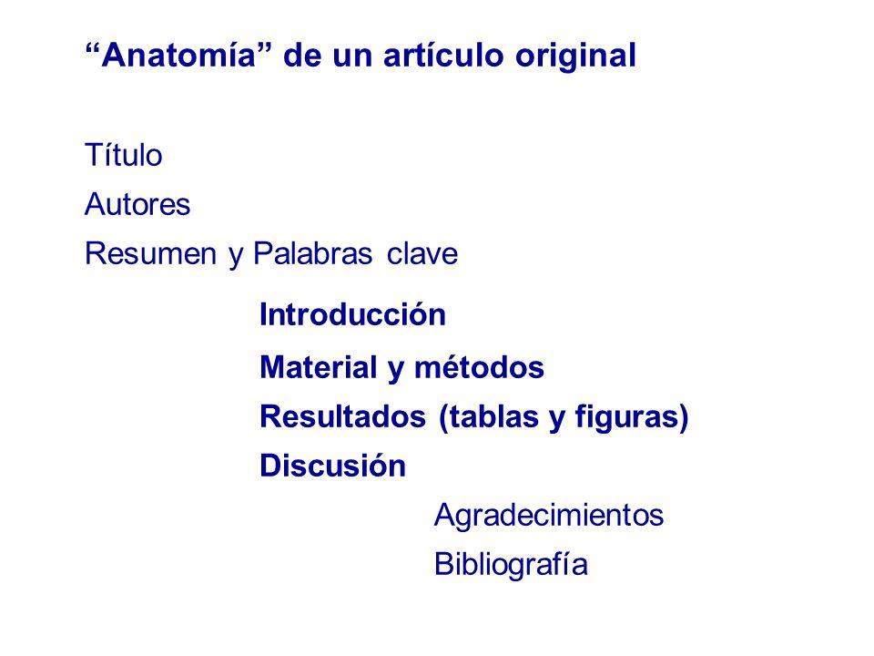 Anatomía de un artículo original