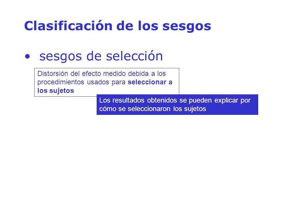 Clasificación de los sesgos sesgos de selección