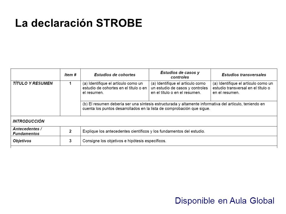 La declaración STROBE Disponible en Aula Global