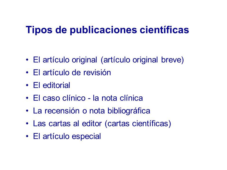 Tipos de publicaciones científicas