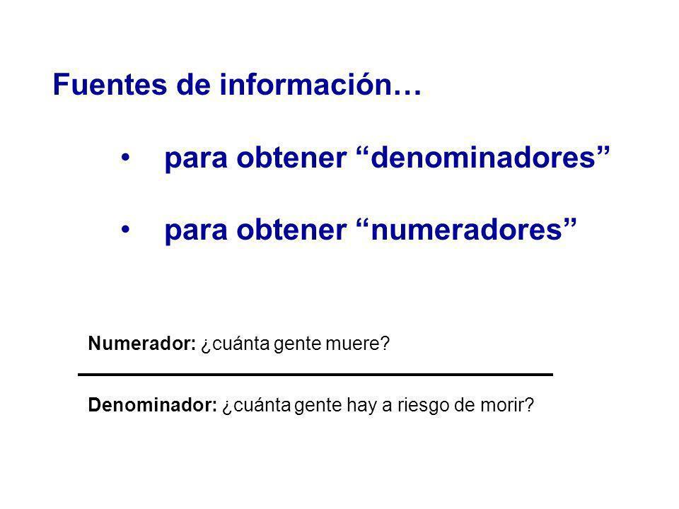 Fuentes de información… para obtener denominadores