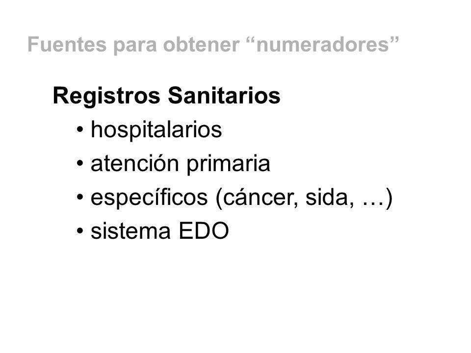 específicos (cáncer, sida, …) sistema EDO