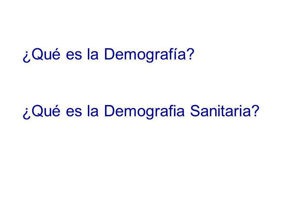 ¿Qué es la Demografía ¿Qué es la Demografia Sanitaria