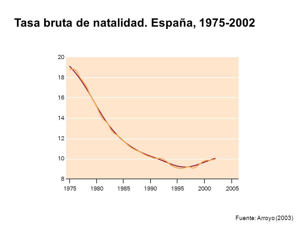 Tasa bruta de natalidad. España, 1975-2002