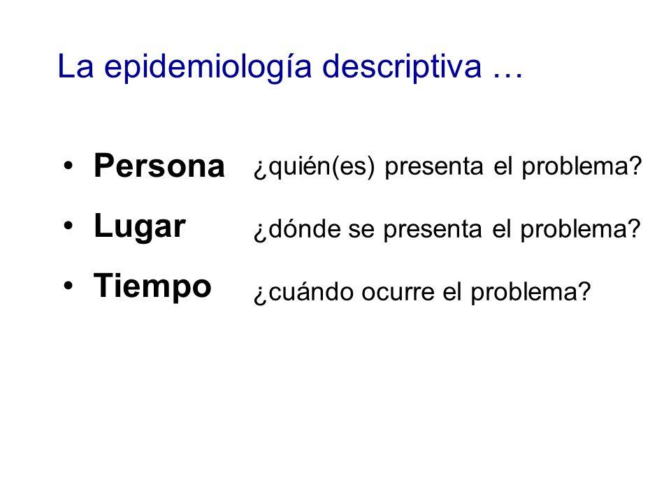 La epidemiología descriptiva …