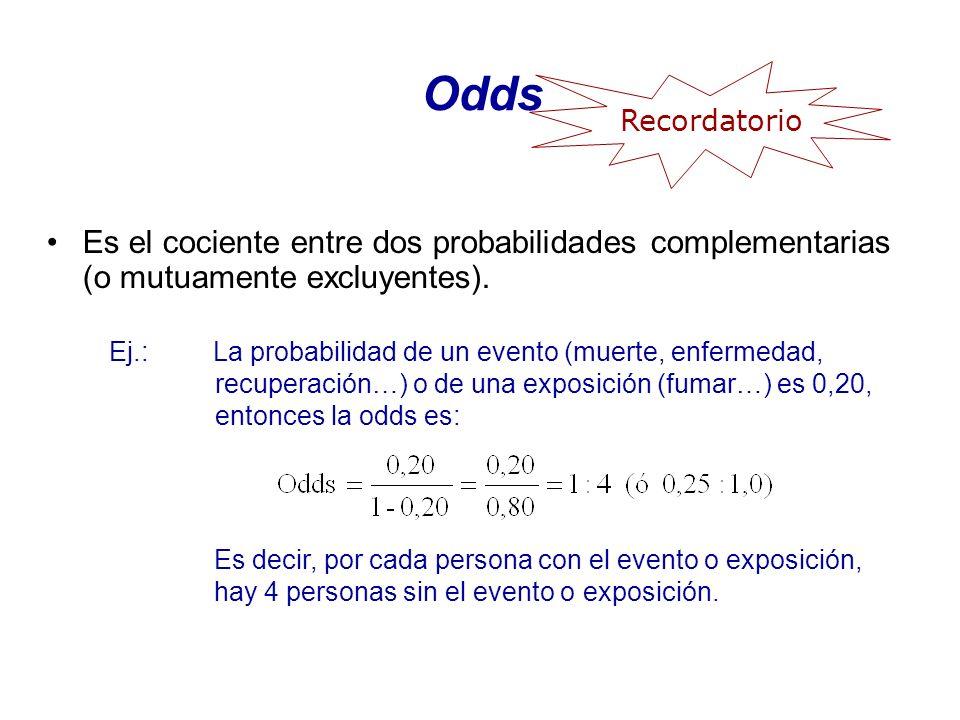 Odds Recordatorio. Es el cociente entre dos probabilidades complementarias (o mutuamente excluyentes).