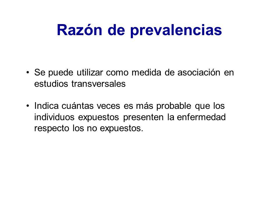 Razón de prevalencias Se puede utilizar como medida de asociación en estudios transversales.