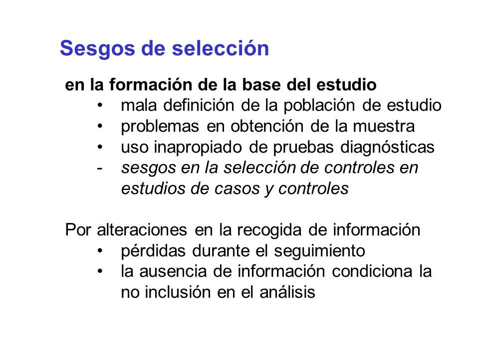 Sesgos de selección en la formación de la base del estudio