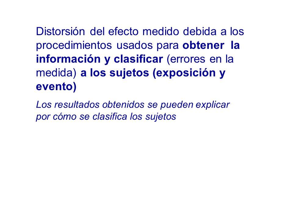 Distorsión del efecto medido debida a los procedimientos usados para obtener la información y clasificar (errores en la medida) a los sujetos (exposición y evento)