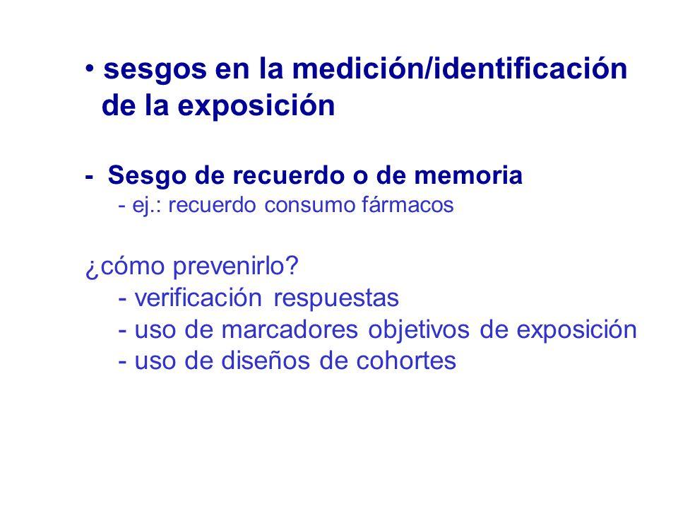 sesgos en la medición/identificación de la exposición
