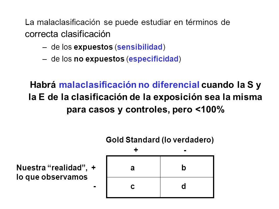 La malaclasificación se puede estudiar en términos de correcta clasificación