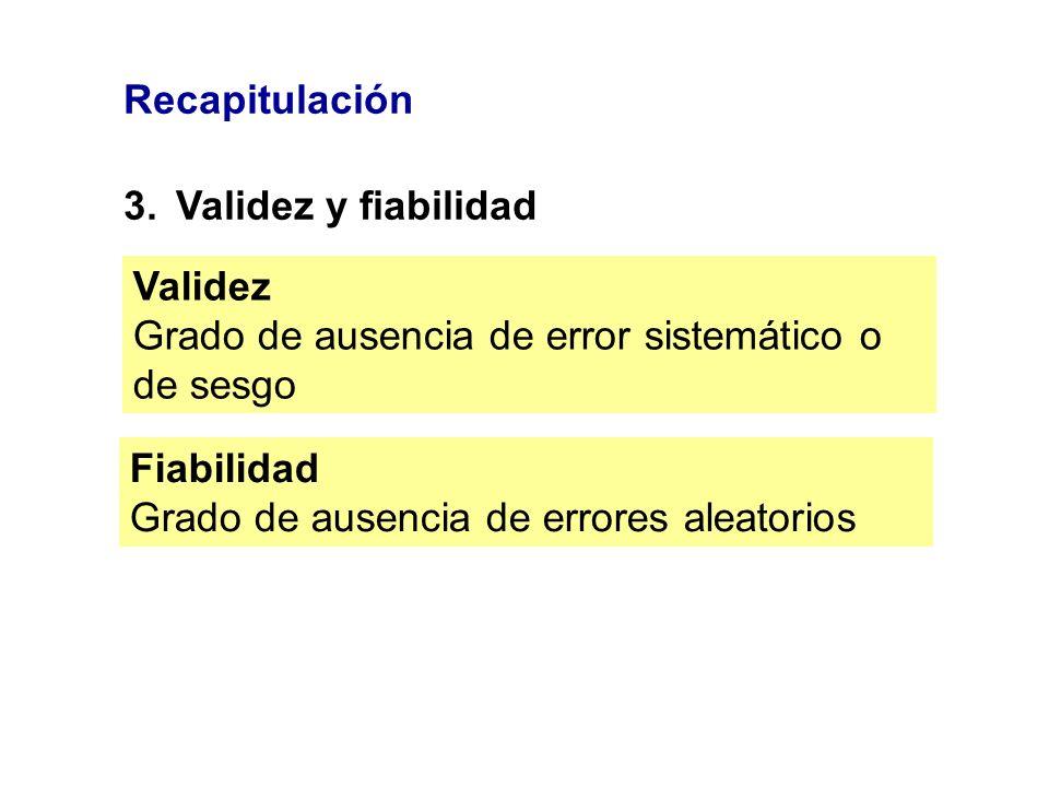 Recapitulación 3. Validez y fiabilidad. Validez. Grado de ausencia de error sistemático o de sesgo.