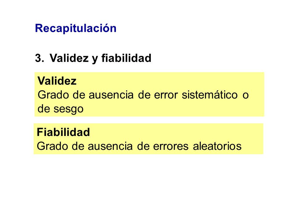 Recapitulación3. Validez y fiabilidad. Validez. Grado de ausencia de error sistemático o de sesgo. Fiabilidad.