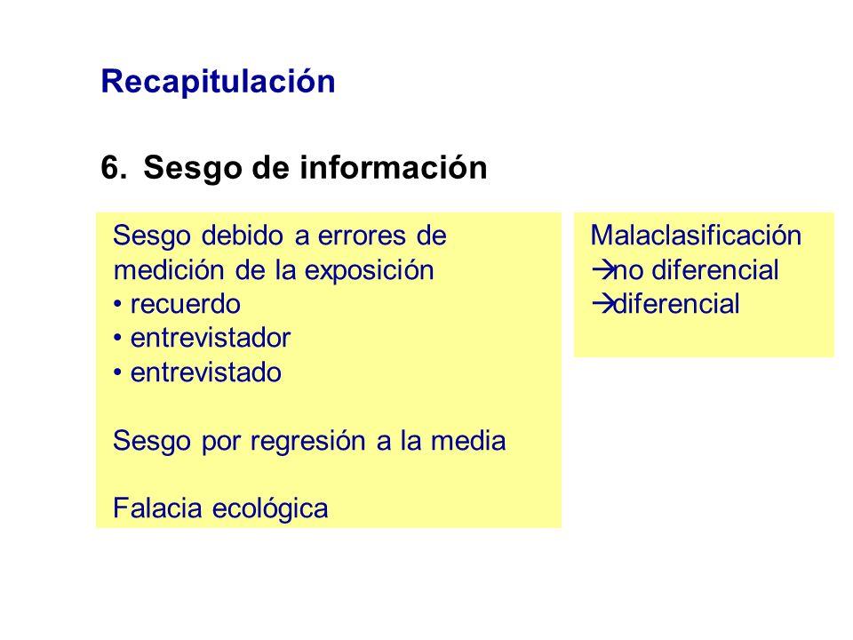 Recapitulación 6. Sesgo de información
