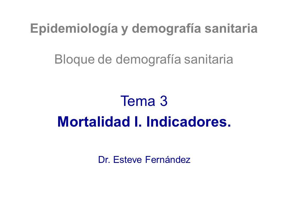 Epidemiología y demografía sanitaria Mortalidad I. Indicadores.