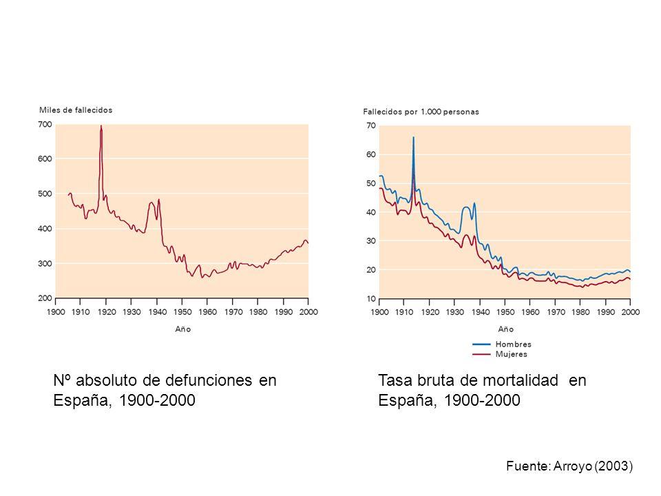 Tasa bruta de mortalidad en España, 1900-2000