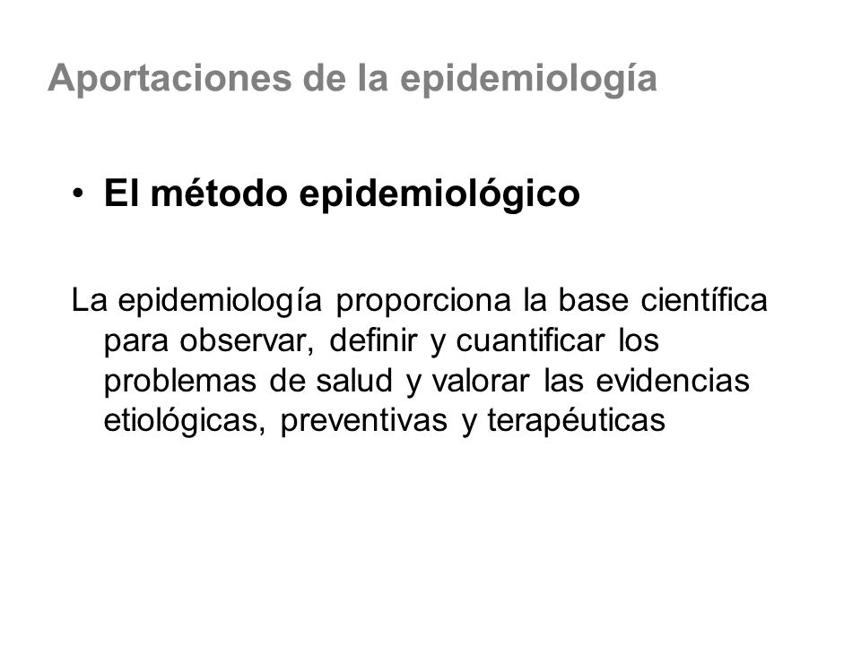 Aportaciones de la epidemiología
